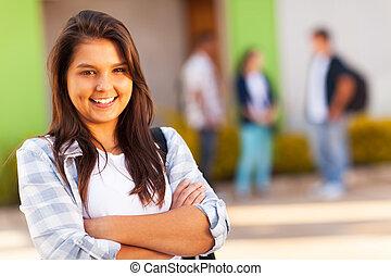 meisje, armen, hoog, tiener, school, ineengevouwen