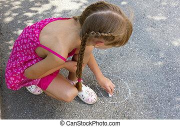 meisje, asfalt, 5068, verlekkeert