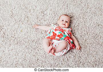 meisje, baby, jurkje, rode bloemen