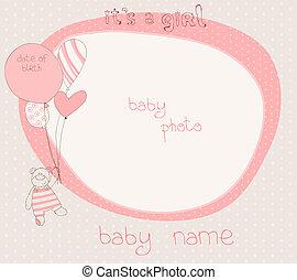 meisje, baby, kaart, aankomst, frame, foto