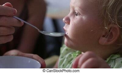 meisje, baby, kleine, eten, blonde