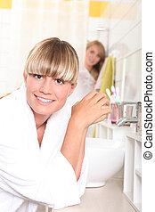 meisje, badkamer