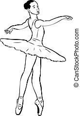 meisje, ballerina, schets, tutu, pointe