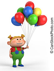 meisje, ballons