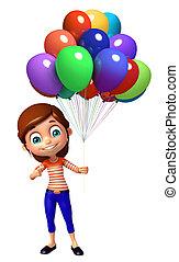 meisje, balloon, geitje