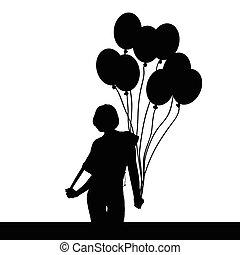meisje, balloon, illustratie