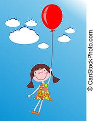 meisje, balloon