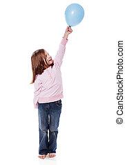 meisje, balloon, vasthouden