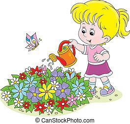 meisje, bewaterende bloemen