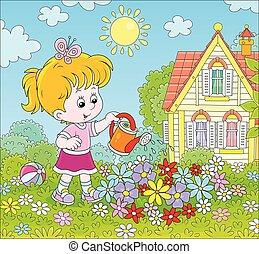 meisje, bewaterende bloemen, flowerbed, weinig; niet zo(veel...