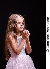 meisje, bidt, five-year