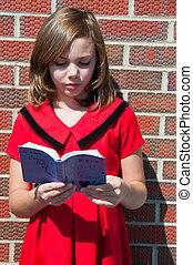meisje, bijbel, jonge, mooi