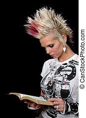 meisje, bijbel, punker