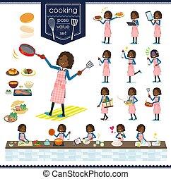meisje, black , het koken, type, school, plat