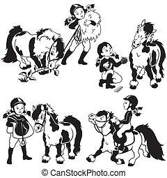 meisje, black , pony, set, witte