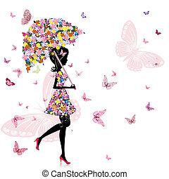 meisje, bloem, paraplu
