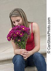 meisje, bloem