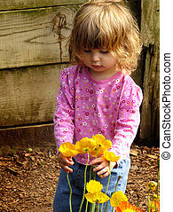 meisje, bloemen