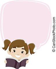 meisje, boek, bel, lezende , leeg