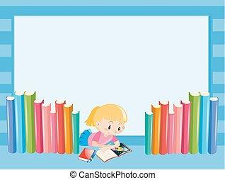 meisje, boek, grens, lezende , mal