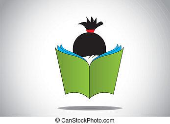 meisje, boek, jonge, student, stydying