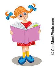 meisje, boek, lezen