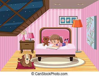 meisje, boek, lezende , bed