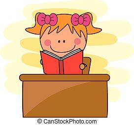 meisje, boek, lezende , bibliotheek