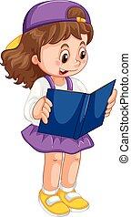 meisje, boek, lezende , jonge