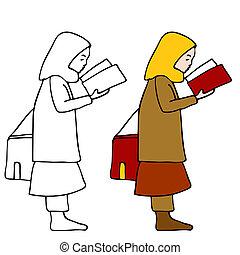 meisje, boek, lezende , moslim