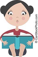 meisje, boek, lezende , opwindende , spotprent
