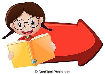 meisje, boek, lezende , richtingwijzer, rood