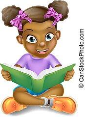 meisje, boek, lezende , spotprent