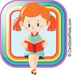 meisje, boek, ontwerp, lezende , pictogram