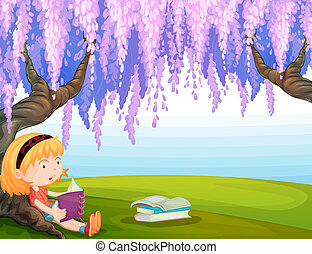meisje, boek, park, lezende