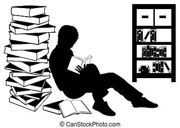meisje, boek, silhouette, lezende