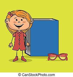 meisje, boek, studeren, student, bril