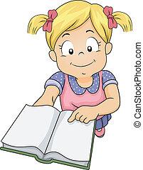 meisje, boek, uitnodigen