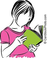 meisje, boek, vector, weinig; niet zo(veel), lezende , illustratie
