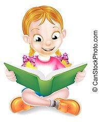meisje, boek, verbazend, lezende , spotprent