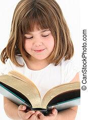 meisje, boek, vrolijke , groot