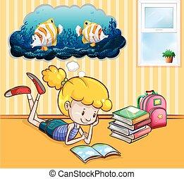 meisje, boekjes , kamer, lezende