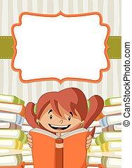 meisje, boekjes , lees kaart, spotprent