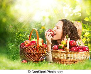 meisje, boomgaard, eten, organisch, appel, mooi