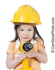 meisje, bouwsector