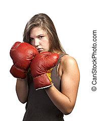 meisje, boxing, vrijstaand, witte