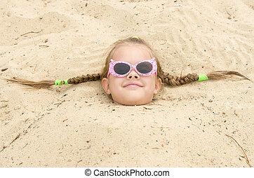 meisje, bril, strand, five-year