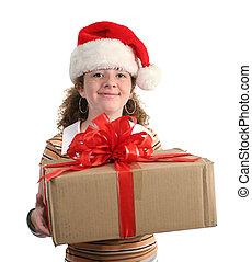 meisje, cadeau, vrolijke
