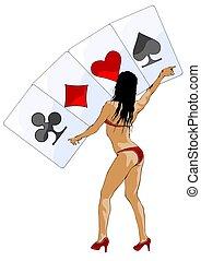 meisje, casino, een