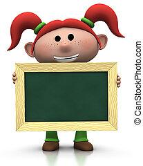 meisje, chalkboard